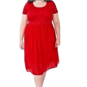 Penningtons|Short Sleeve Mixed Media Chiffon Dress